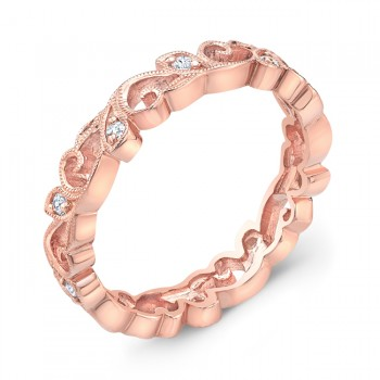 Stackable Rose Gold Diamond Floral Ring.