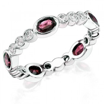 Diamond and Custom Cut Oval Pink Sapphire Stackable Ring