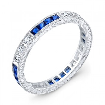 Diamond and Blue Sapphires Engraved Ring