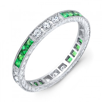 Diamond and Tsavorite Engraved Ring