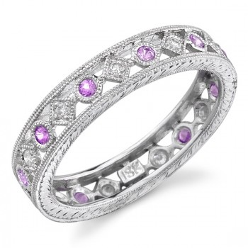 Lace Like Engraved & Mill Grained Satackable Ring With Round Brilliant Cut Diamonds and Pink Sapphires