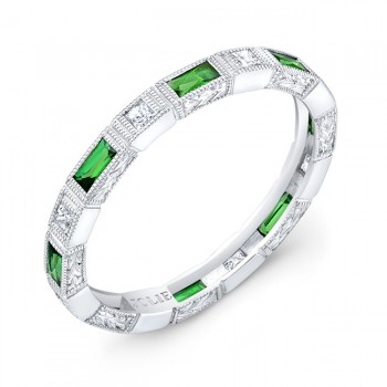 Bezel Set Baguette Tsavorite  and Princess Cut Diamond Stackable Ring