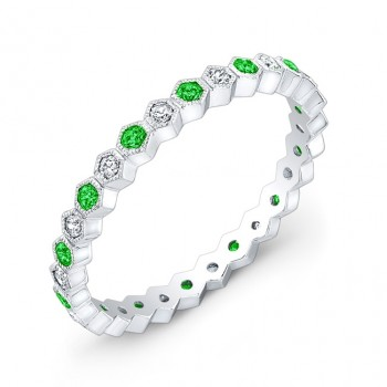 Stackable Diamond and Tsavorite Ring