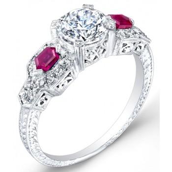 Diamond & Ruby Engagement Ring