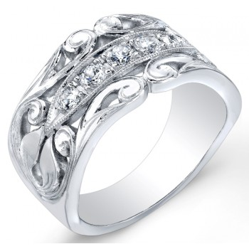 Nouveau Style, Vine Like Diamond Wedding Band