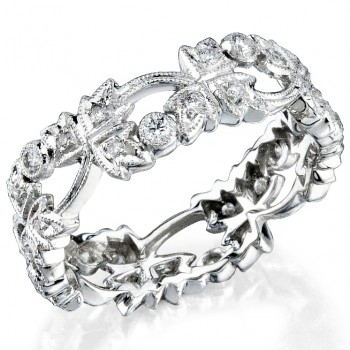 Leaf Diamond Stakable Wedding Ring