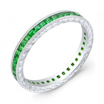 Hand Engraved Gold Ring set with Princess Cut Tsavorite's
