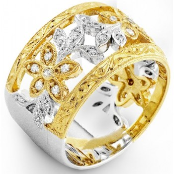Diamond and Yellow Sapphire Two Tone ring