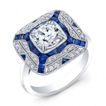 Art Deco Blue Sapphire and Diamond Ring