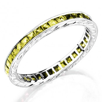 yellow sapphire, channel set gold ring