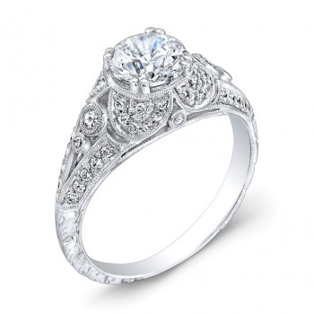 Engraved, Diamond Engagement Ring
