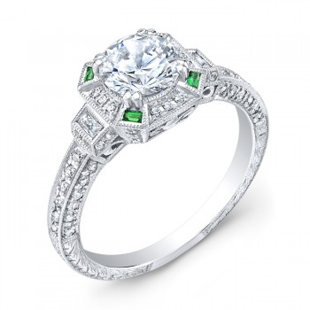 Art Deco Style, Diamond & Emerald Engagement Ring