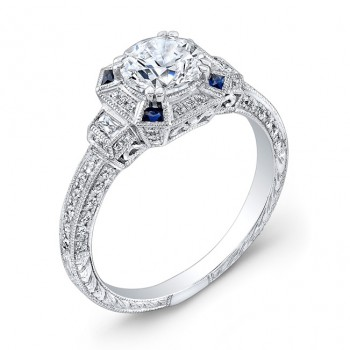 Art Deco Style, Diamond & Blue Sapphire Engagement Ring