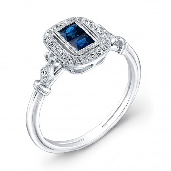 Vintage Petite Antique Inspired two Stone Blue Sapphire & Diamonds Ring