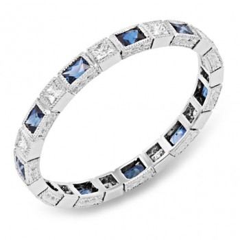 Bezel Set Baguette Blue Sapphires and Princess Cut Diamond ring