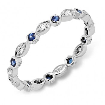 Diamond and Blue Sapphire Stackable Ring
